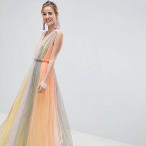 ASOS DESIGN Tulle Maxi Dress Pastel Colorblock